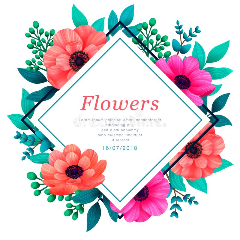 Floral frame. Tropical flowers trendy template. Vertical Design with beautiful flowers and palm leaves with copy space vector illustration