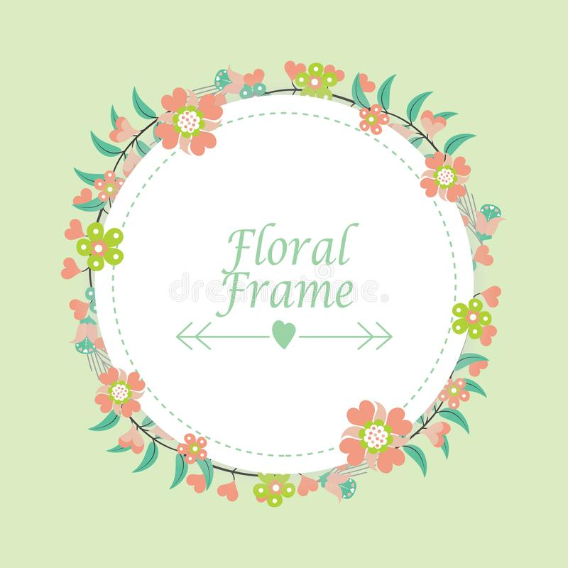 Floral frame design template with flowers circle wreath royalty free stock photos