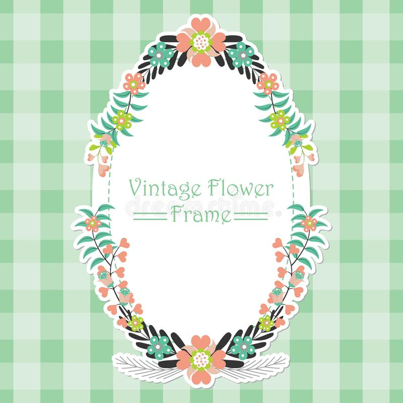 Frame vector design template with flowers wreath on green background stock image