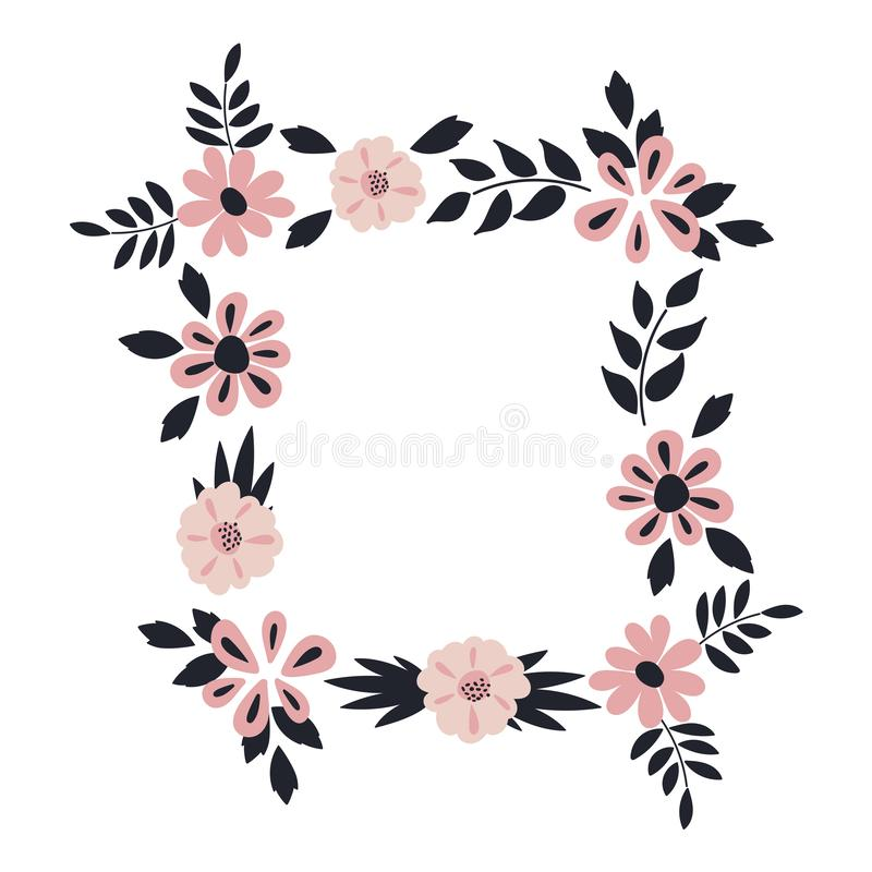 Floral frame . Vector elegant floral arrangement with blue leaves and pink flowers. Design for invitation, wedding, greeting cards stock illustration