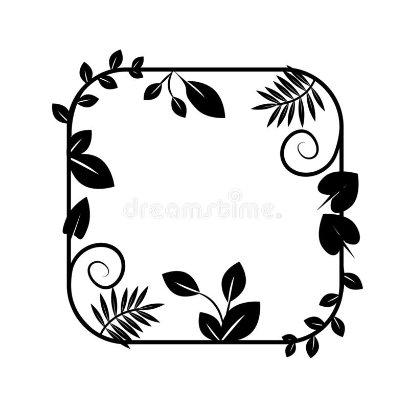 Floral frame vector icon, border. Plant, wreath, herbal, flowers, flora plants green growth leaf leaves foliage herbarium eco ecology royalty free illustration