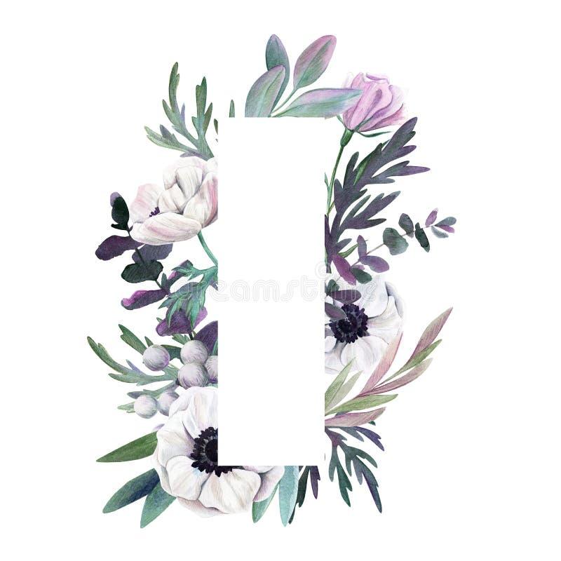 Floral frame. Watercolor botanical hand drawn royalty free illustration