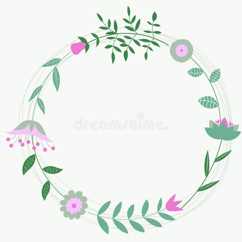 Floral frame for wedding invitations and cards birthday. Retro flowers arranged in a shape of the wreath vector illustration