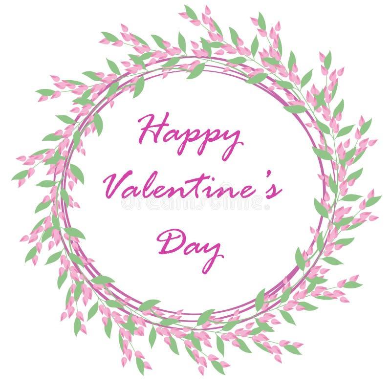 Floral frame on white background for design of cards, wedding invitations, Valentine`s day stock illustration