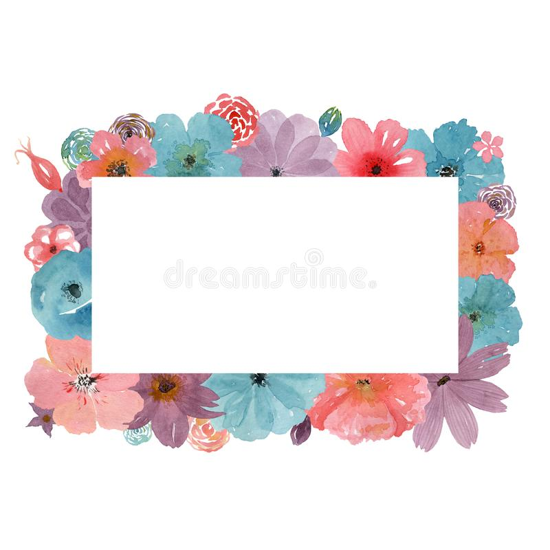 Floral frame with a white background for the inscription. Watercolor flowers stock illustration