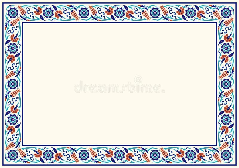 Floral frame for your design. Traditional Turkish � Ottoman ornament. Iznik. Vector background vector illustration