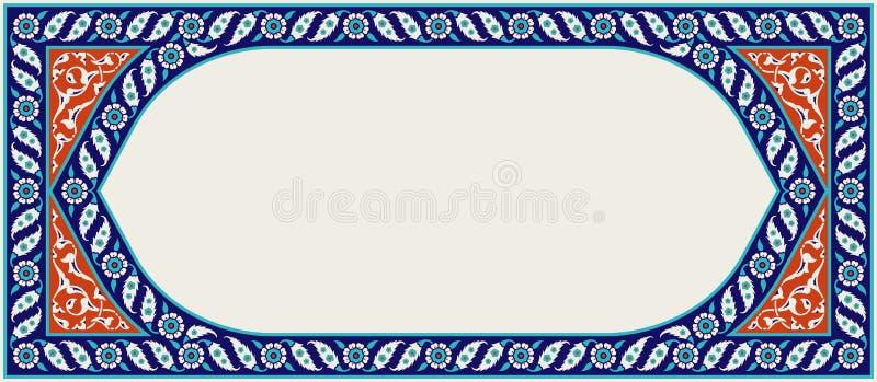 Floral frame for your design. Traditional Turkish � Ottoman ornament. Iznik. Vector background royalty free illustration