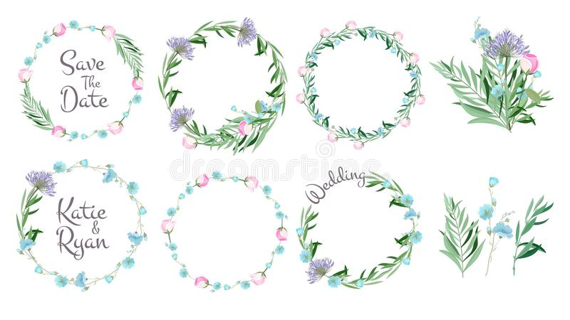 Floral frames. Circle shapes with flowers branches decorative elements simple leaf greeting cards layout wreath vector royalty free illustration