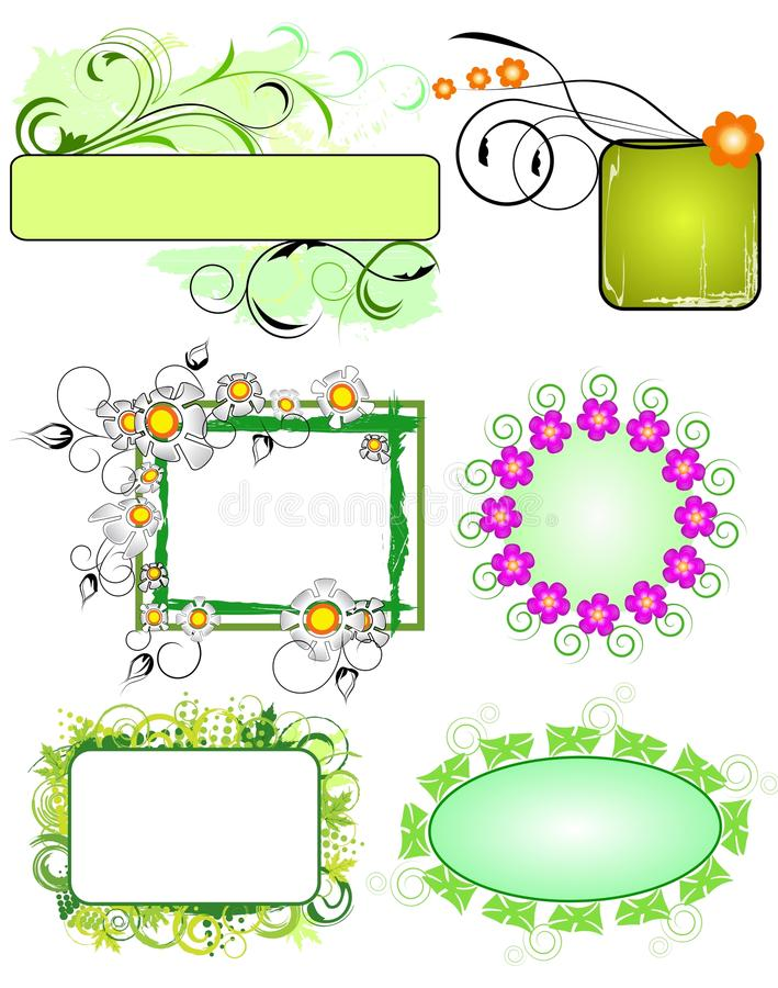 Floral frames collection stock illustration