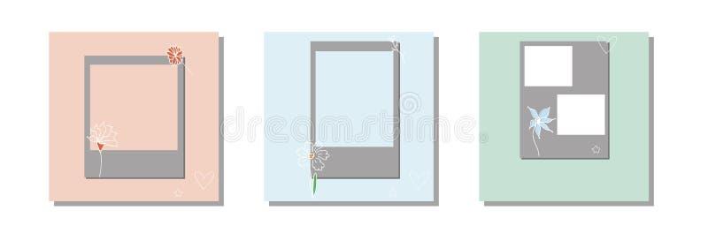 Design floral frames for social media banner.Set of  post frame templates.Vector cover. Mockup for personal blog or shop.Layout fo stock illustration