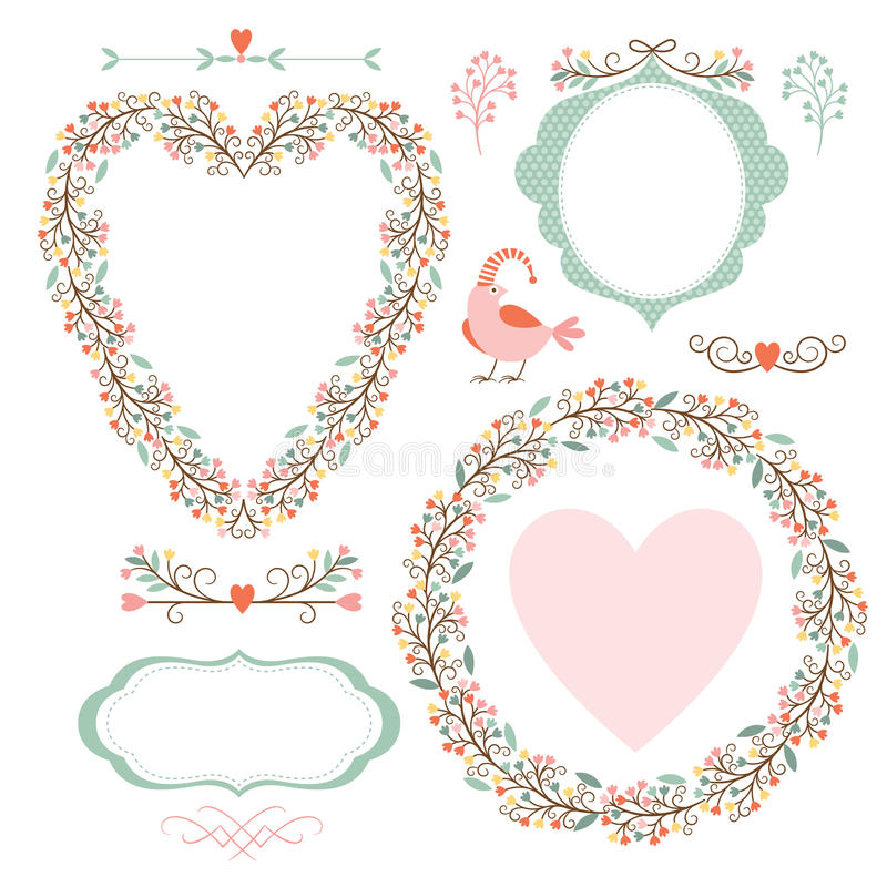 Floral Frames And Graphic Elements Stock Vector - Illustration of ...