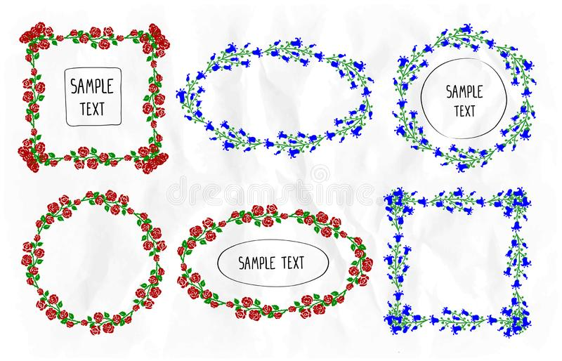 Floral frames set, round, square and oval frames collection decorated rose and bluebell flowers. Flower frames set, round, square and oval frames collection vector illustration