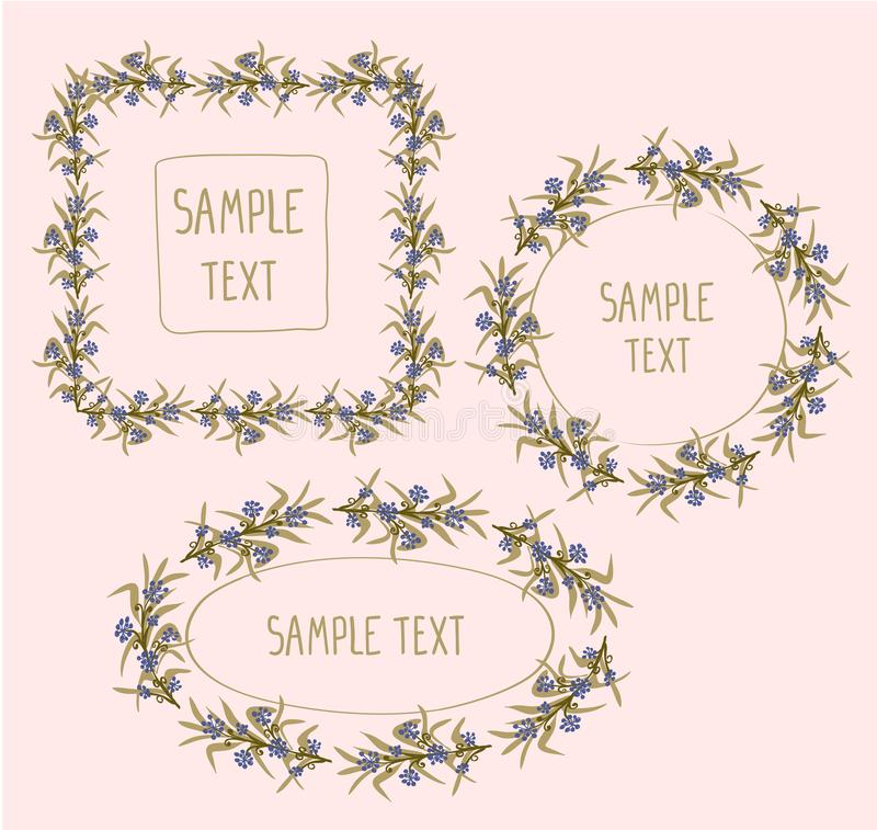 Floral frames - square, round and oval frames collection decorated berries and leaves royalty free illustration
