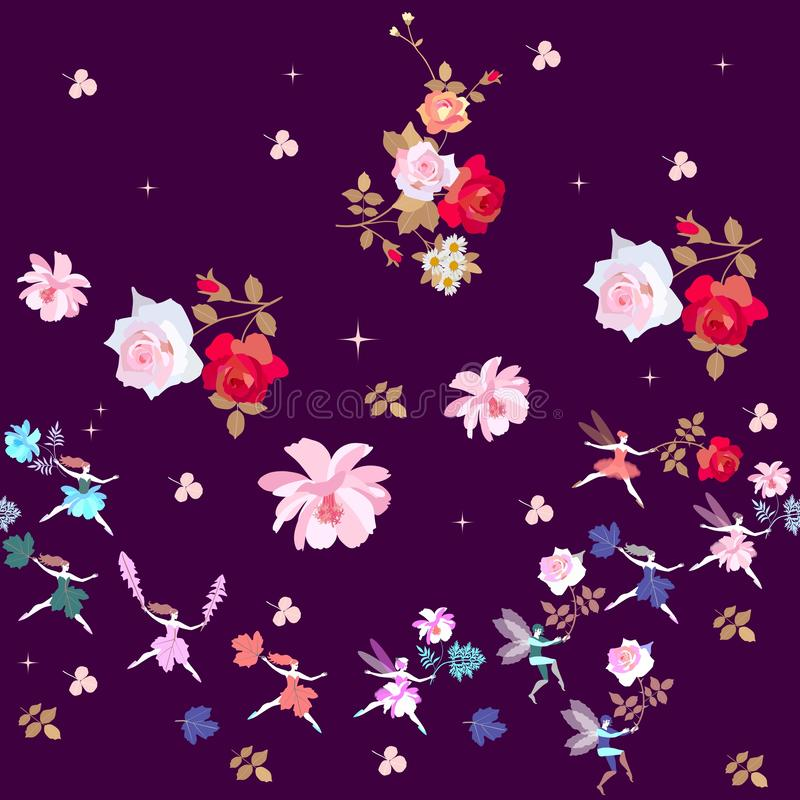Floral garden. Magic dance of fairies and elves with beautiful flowers. Ballet in summer night. Vector illustration vector illustration