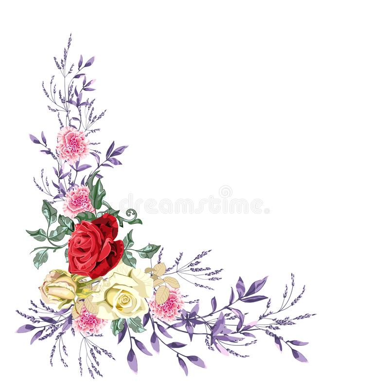 Floral garland for wedding, bouquet of beautiful roses flower and foliage on white background, corner composition. Vector illustration. Can be used for stock illustration