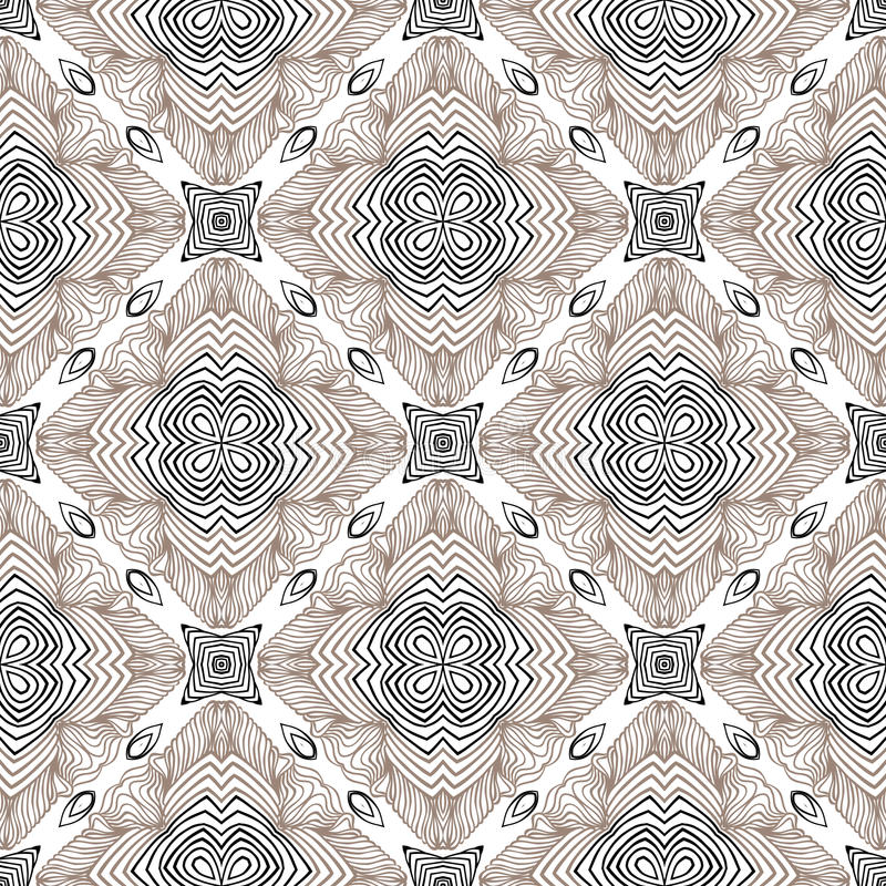 Floral geometric pattern, contemporary style. Floral linear vector seamless pattern in art deco style, 1930s or 1920s wallpaper design in grey white and black stock illustration