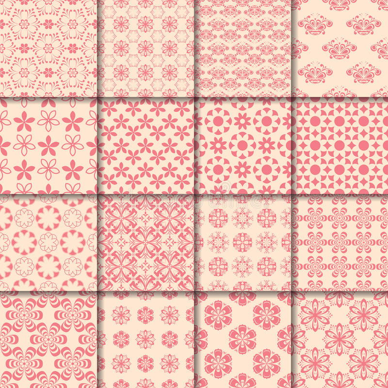 Floral and geometric seamless pattern. Red abstract backgrounds stock illustration