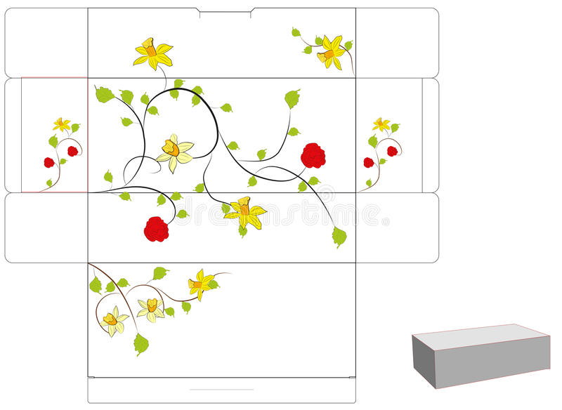 Download Floral Gift Box With Die Cut. Stock Vector - Image: 11776716