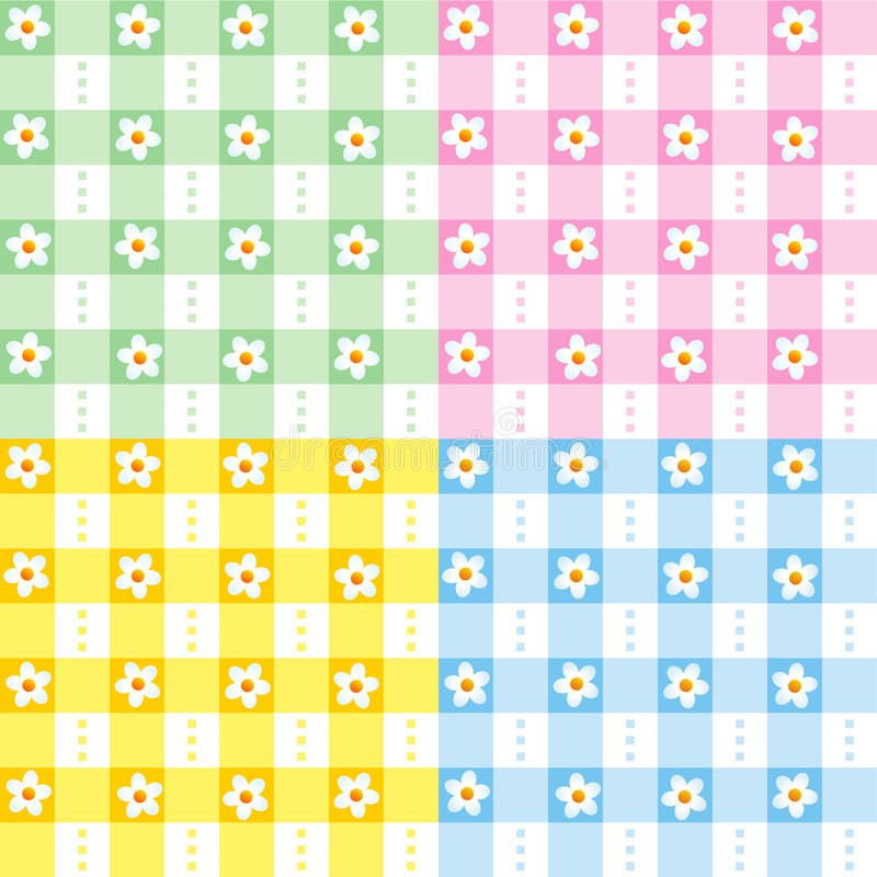 Floral gingham seamless patterns. Four easy tilable green, pink, yellow and blue floral gingham seamless repeat patterns (print, seamless background, wallpaper vector illustration