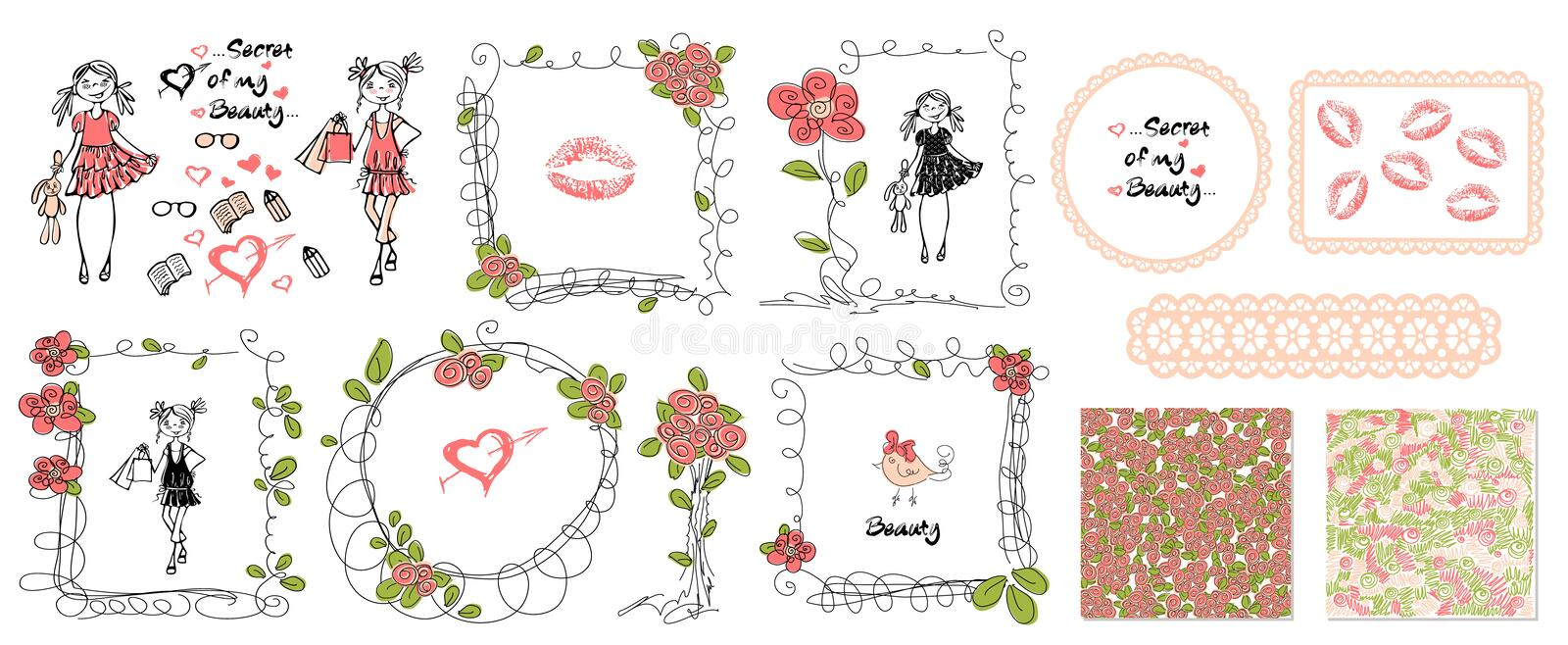 Floral girls doodle frames in hand drawn style. Birthday party. Leaves and rose background vector. stock photo