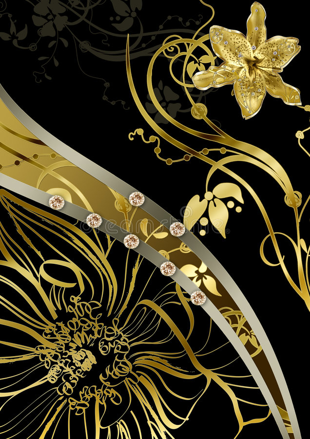 Floral Gold Abstraction Royalty Free Stock Images