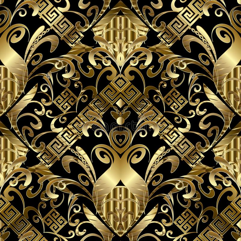 Floral gold 3d seamless pattern. Vector damask background with h. And drawn flowers, leaves, stripes, borders, greek key, meander ornaments. Ornate design for vector illustration