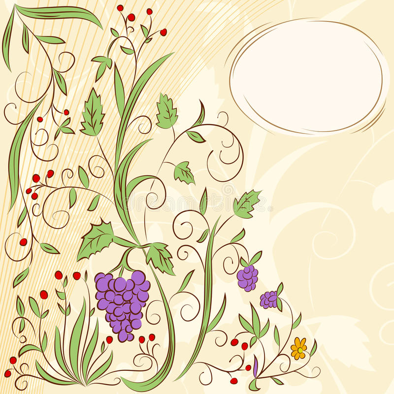 Floral grape abstract background vector illustration
