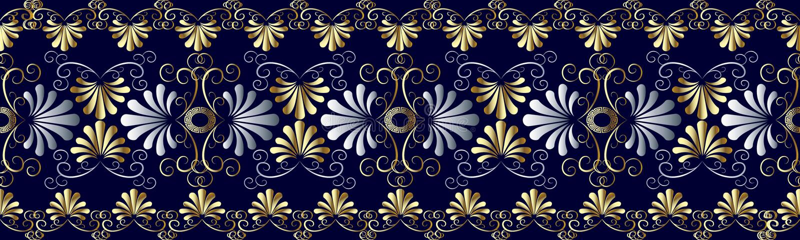Floral grecian seamless border pattern. Blue vector geometric ba stock illustration
