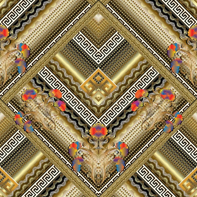 Floral greek key tiled seamless pattern. Vector striped 3d background wallpaper with vintage gold rhombus, frames, lines, stripes royalty free illustration