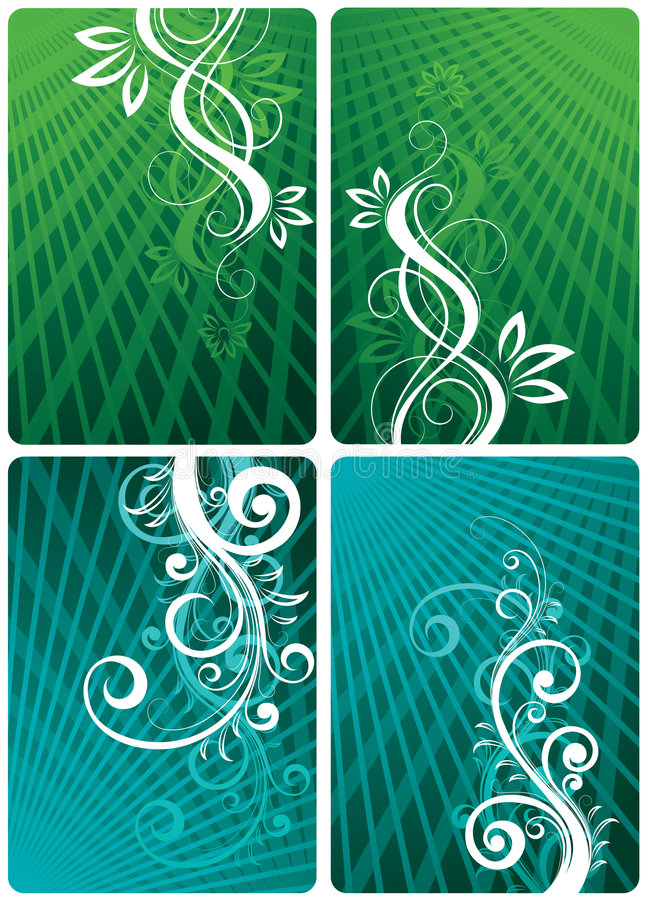 Floral green and teal layouts. A set of four green and teal background with flourishes royalty free illustration
