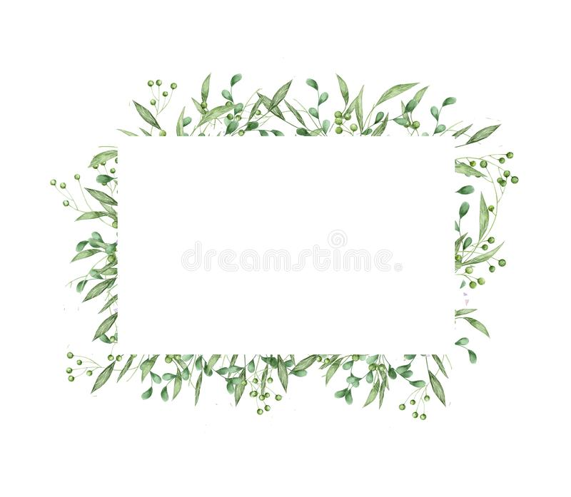 Floral greenery card design: branch green leaves rectangle frame. Wedding invite poster invitation Watercolor hand drawn art illus stock illustration