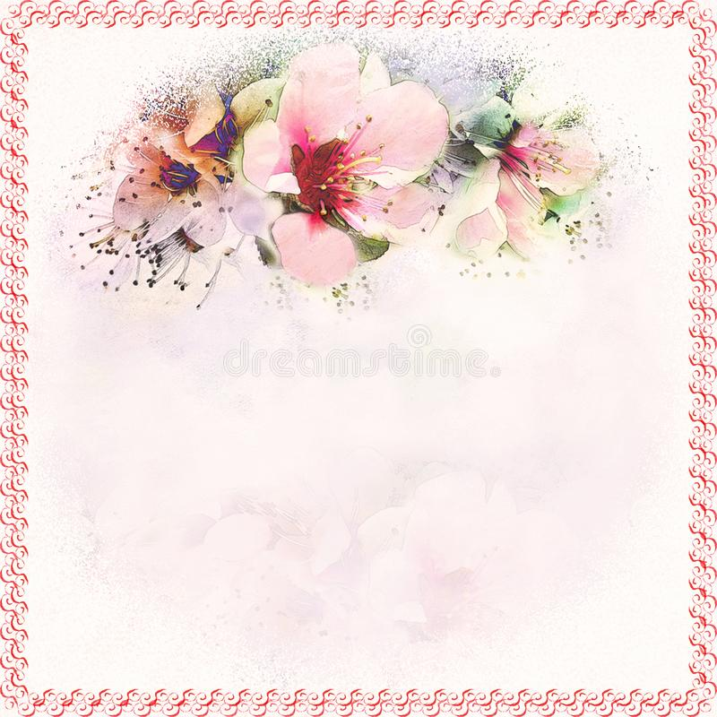 Floral greeting card with abstract spring flowers on grunge stained hazy background in pastel colors with copy space and. Decorative swirl frame stock illustration