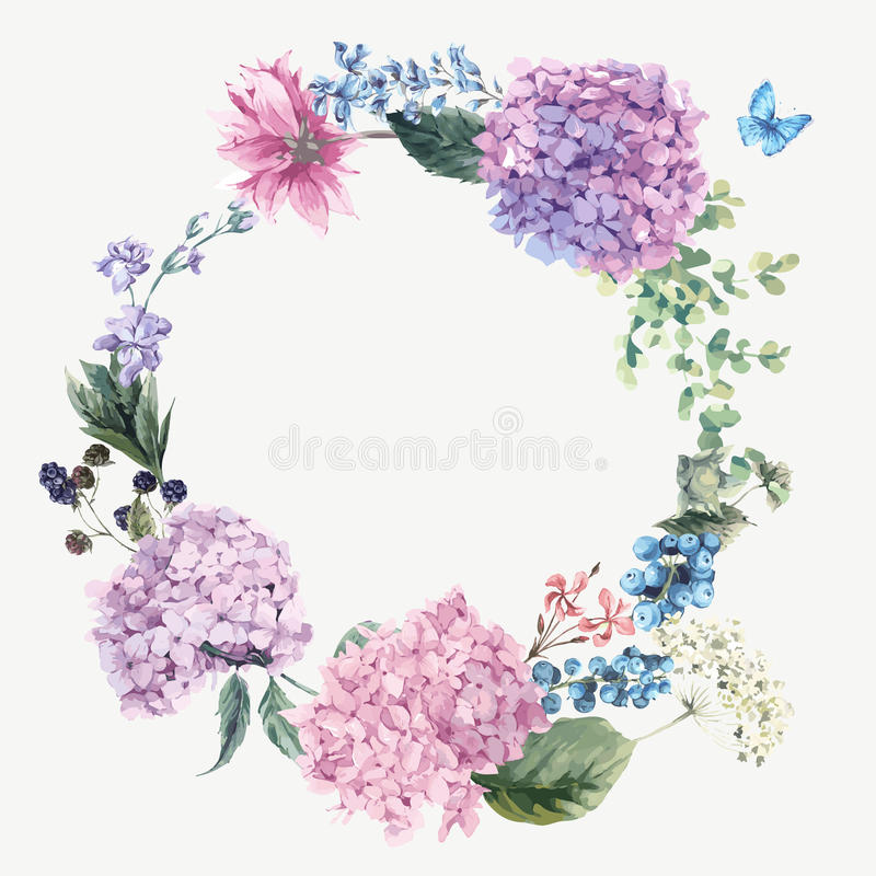 Floral Greeting Card with Blooming Hydrangea and garden flowers vector illustration