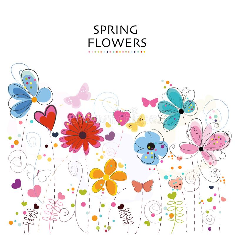 Floral greeting card with colorful decorative abstract spring flowers. Background royalty free illustration
