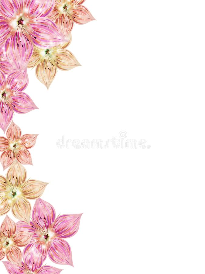 Floral greeting card design with lily flowers decorated on background. vector illustration