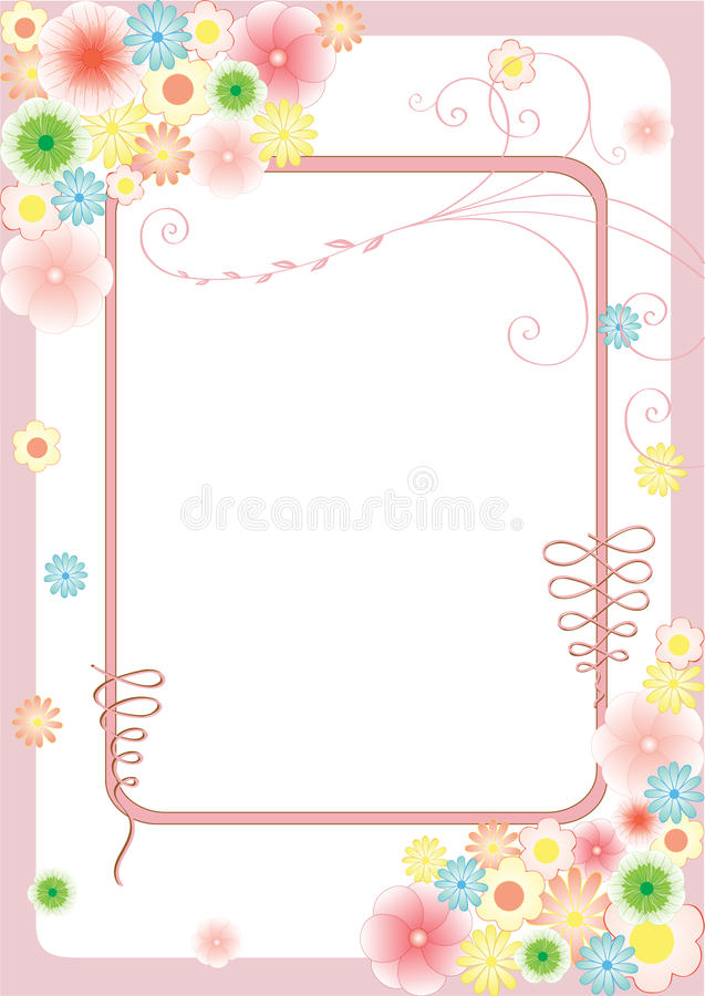 Download Floral Greeting Card With Flowers And Curls Stock Vector - Image: 14563866