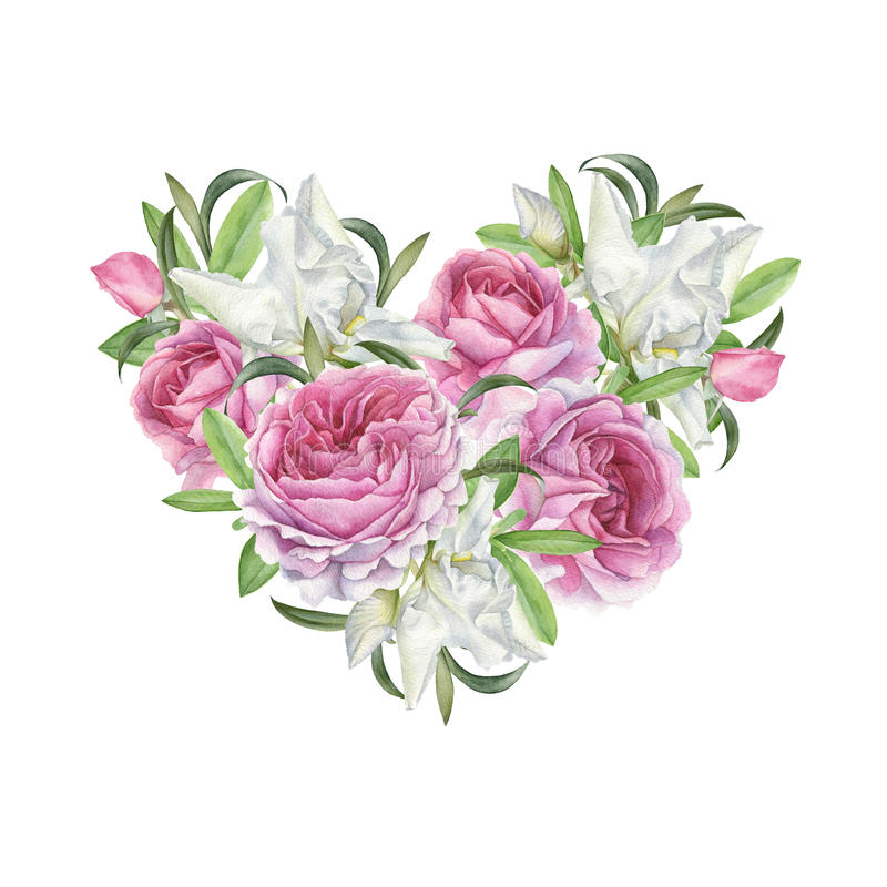 Floral greeting card with heart of flowers stock illustration