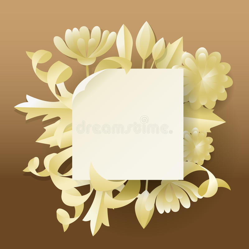 Floral Greeting Card. Invitation with Paper Cut Out Flowers. Vector illustration stock illustration