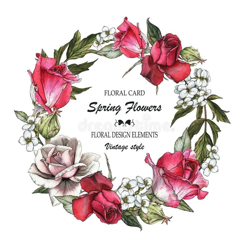 Floral greeting card with roses and jasmine. Wreath of flowers vector illustration