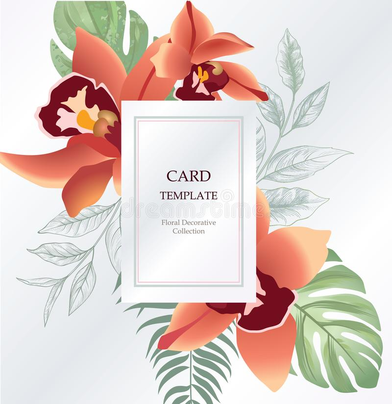 Floral greeting, invitation card template design. Flower backgound. Floral greeting card. Flower frame over white background. Floral design for invitation stock photography