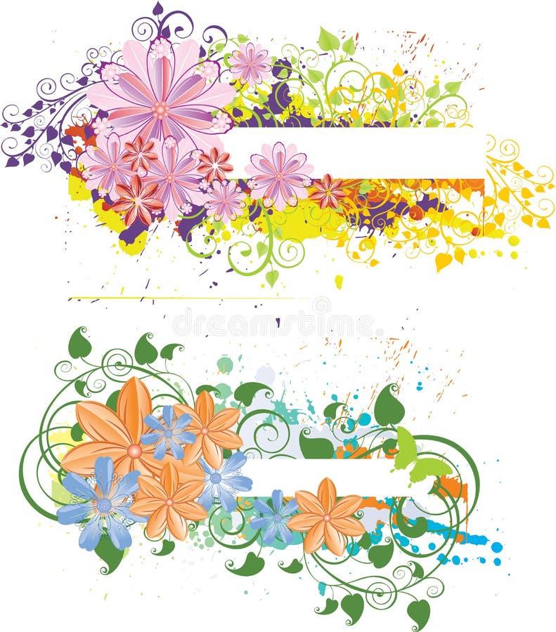 floral grunge εμβλημάτων διανυσματική απεικόνιση