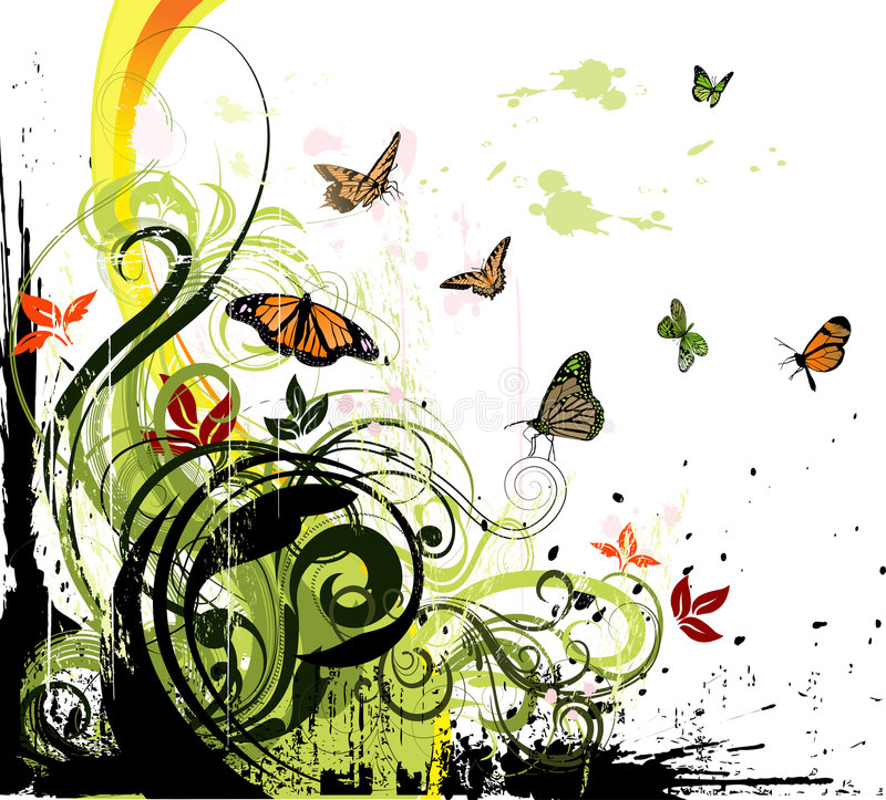 Floral grunge background. Grungy floral illustration with a lot of colorful butterflies royalty free illustration