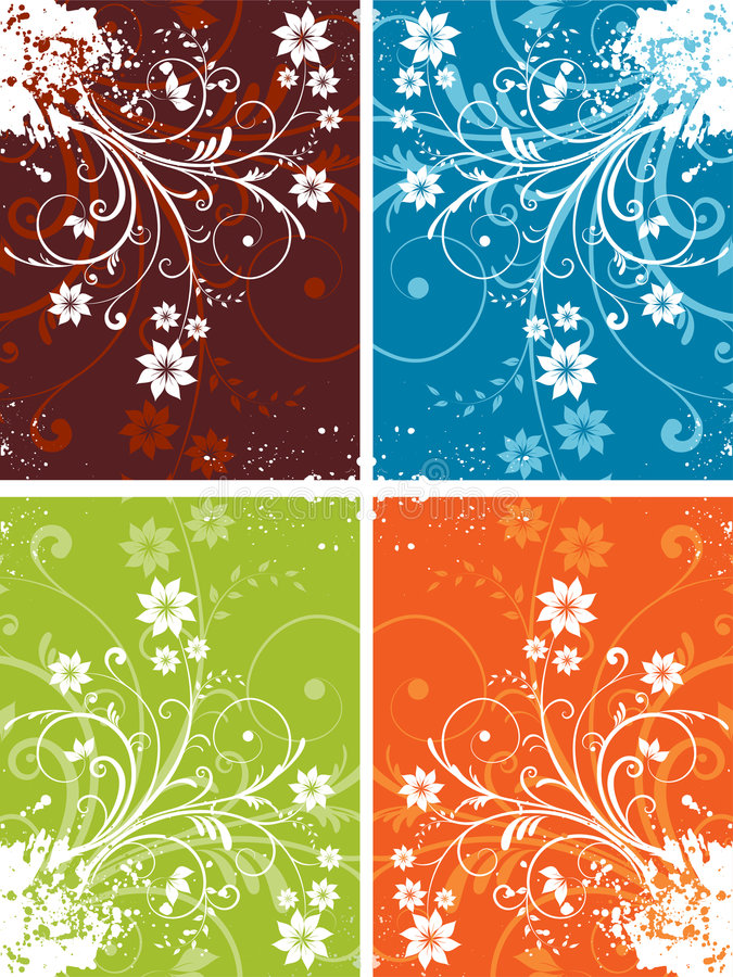 Floral Grunge Backgrounds Stock Image
