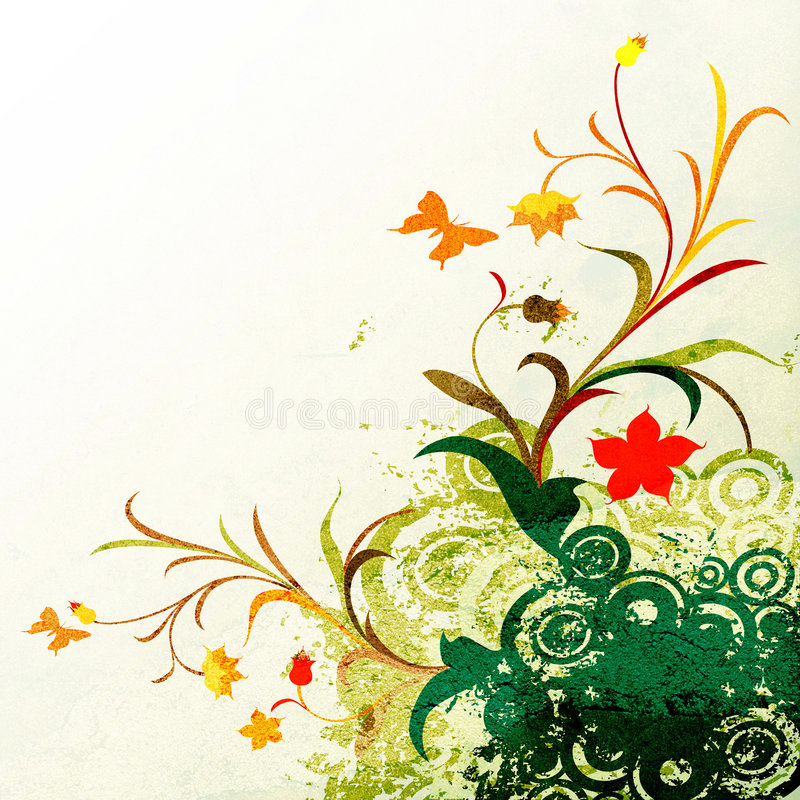 Floral Grunge Design Stock Photography