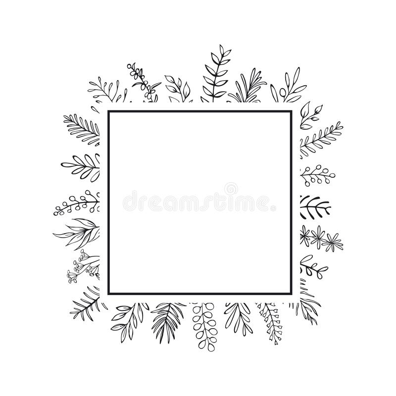 Floral hand drawn farmhouse style outlined twigs branches square frame black and white. Background royalty free illustration