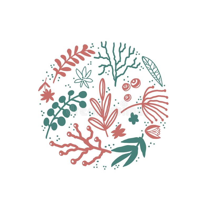 Floral  hand drawn illustrations set in doodle style with flowers and leaves on white backdrop. vector illustration