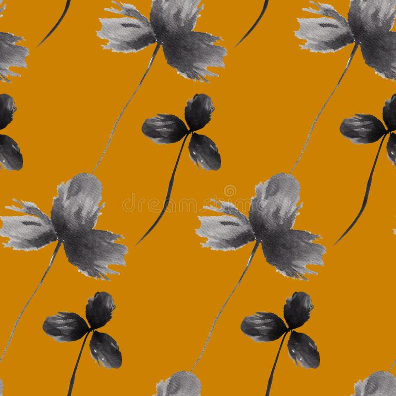 Floral hand drawn seamless pattern with black clovers on yellow background. Vintage style. Good for textile, wrapping stock illustration