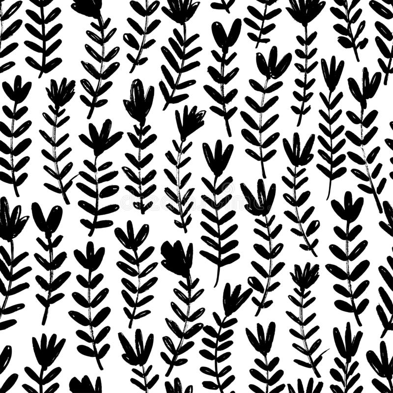 Floral hand drawn seamless pattern. Vector ornament for wrapping paper. Floral hand drawn seamless pattern. Ink brush texture with flowers, stems, leaves royalty free illustration
