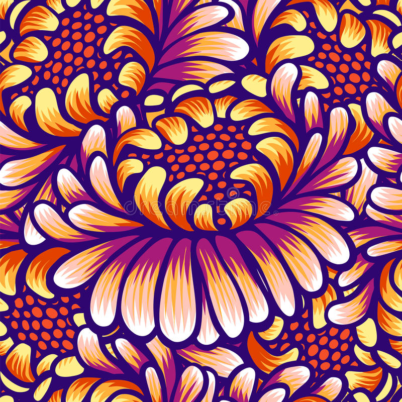 Floral hand drawn vintage seamless pattern with flowers. Fabulous orange-purple flowers. Tropical seamless pattern with. Exotic vivid flowers. Exotic textile vector illustration