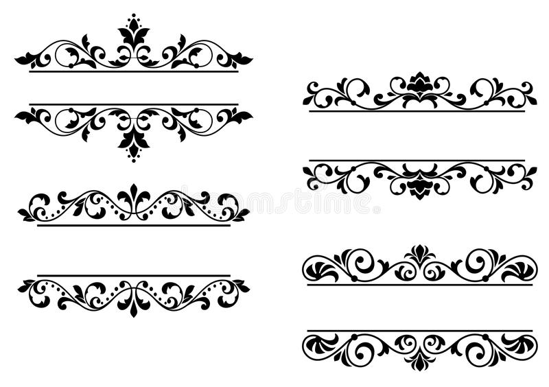 Floral headers and borders vector illustration